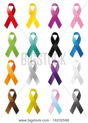 Awareness ribbons. Vector