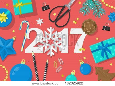Happy New Year 2017 Creative Banner Design In Flat Modern Style. Paper Cut Numbers And Decorations F