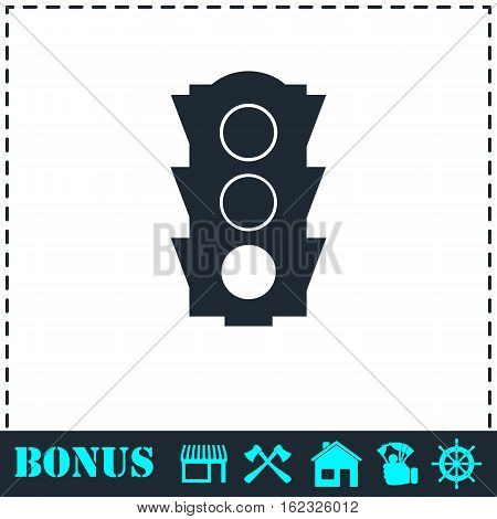 Traffic light icon flat. Simple vector symbol and bonus icon