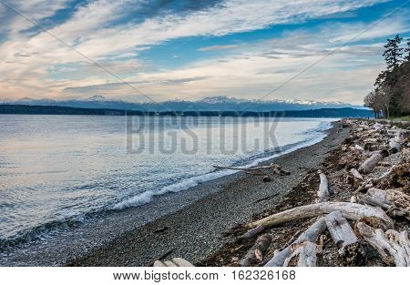 A veiw of the snowcapped peaks of the Olympic Mountains in Washington State.