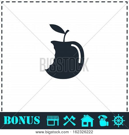 Bite apple icon flat. Simple vector symbol and bonus icon