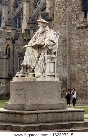 EXETER UK 11 July 2016: Richard Hooker monument near the Cathedral. Exeter. Devon. UK