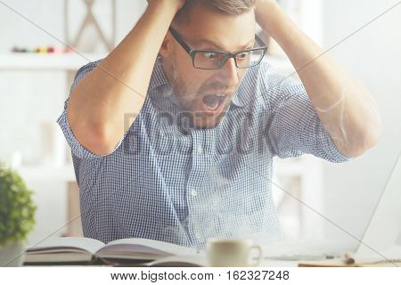 Man Stressing Over Unsaved Data