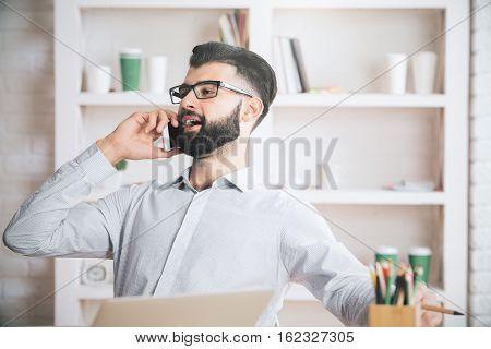 Attractive Man On Phone