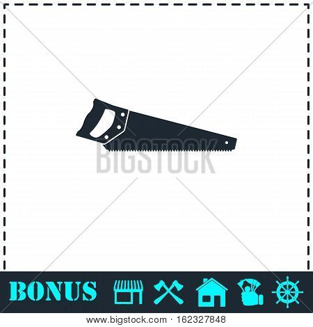 Saw icon flat. Simple vector symbol and bonus icon