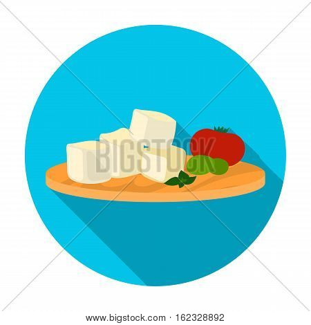 Diced cheese feta with tomatoes and olives on the cutting board icon in flat style isolated on white background. Greece symbol vector illustration.