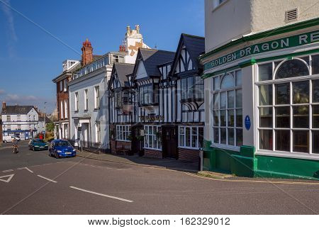 EXMOUTH UK 21 October 2016: Historic building in the style of fachwerk in the Beacon Hill - Beacon Vaults. Exmouth. Devon. UK