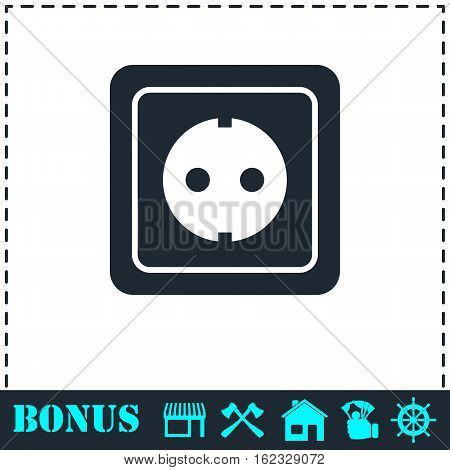 Power socket icon flat. Simple vector symbol and bonus icon