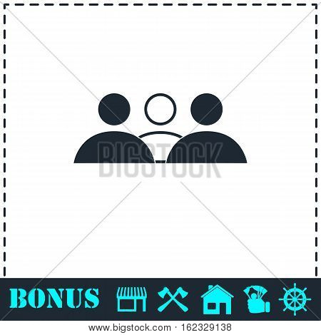 Group people icon flat. Simple vector symbol and bonus icon