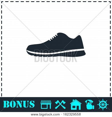 Sneakers icon flat. Simple vector symbol and bonus icon