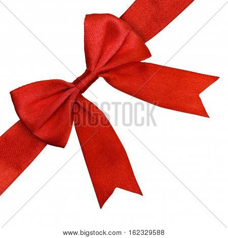 Red satin bow and ribbon isolated with clipping path