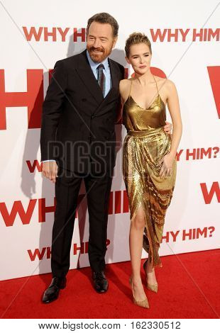 Bryan Cranston and Zoey Deutch at the Los Angeles premiere of 'Why Him?' held at the Regency Bruin Theater in Westwood, USA on December 17, 2016.