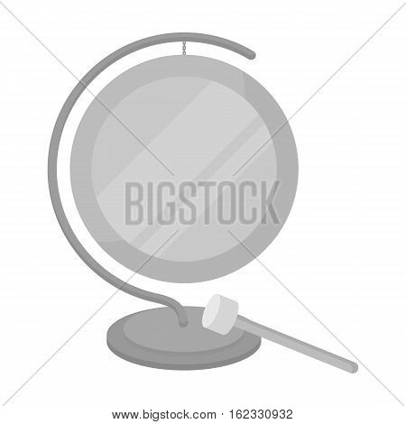 Boxing gong icon in monochrome style isolated on white background. Boxing symbol vector illustration.