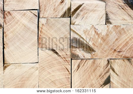 detailed background made from different wooden blocks