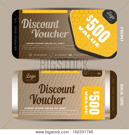 Vector discount voucher on the gradient hexagon mesh pattern and brown background with hexagon yellow shape.