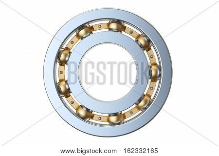 ball bearing side view 3D rendering isolated on white background
