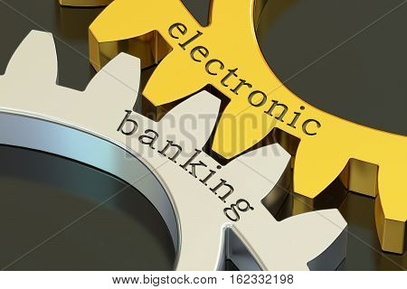 Electronic Banking concept on the gearwheels 3D rendering