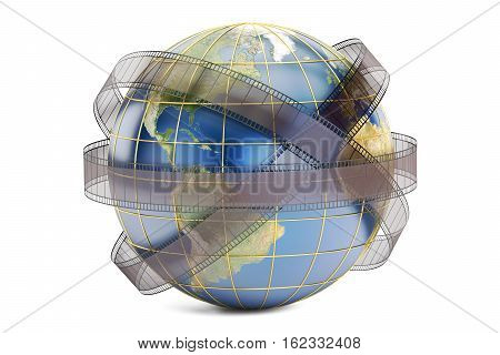 world cinema and cinematography concept 3D rendering isolated on white background