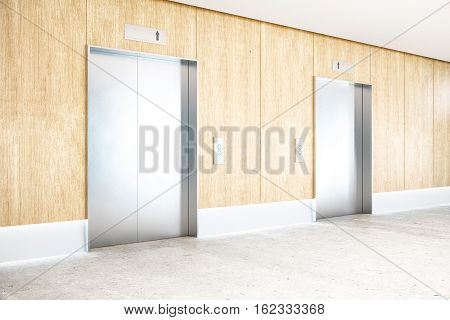 Interior with two silver elevators wooden wall concrete floor and ceiling. Success concept. Side view 3D Rendering