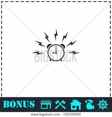 Alarm wake-up time icon flat. Simple vector symbol and bonus icon