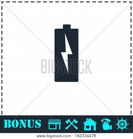 Battery Charging icon flat. Simple vector symbol and bonus icon