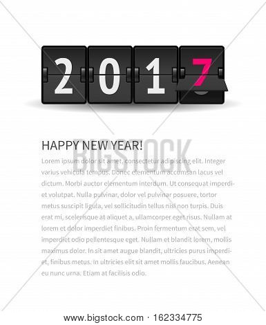 Digital countdown timer with 2017 numbers represents time going forward. New Year page concept with text. Flip clock changing to 2017. Analog scoreboard flip calendar changes to new 2017 year.
