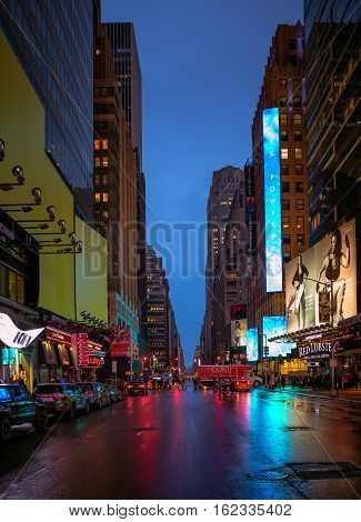 New York City Streets At Night Time