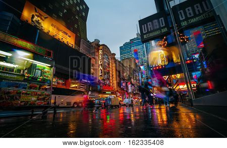 Lights Of Advertising On Streets Of Manhattan At Evening Time