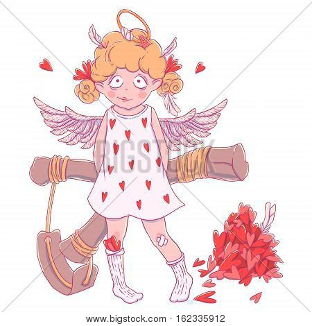 Valentine's day. Naughty cute curly Cupid-girl with slingshot behind her back, wings and halo. Vector illustration isolated on white. T-shirt printing