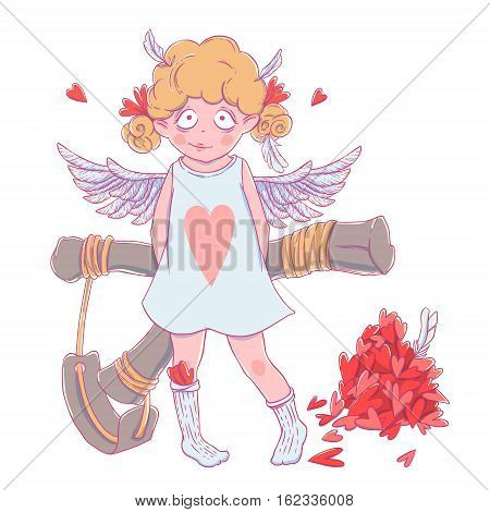 Valentine's day. Naughty cute curly Cupid-girl with slingshot behind her back, wings and a bunch of hearts. Vector illustration isolated on white. T-shirt printing