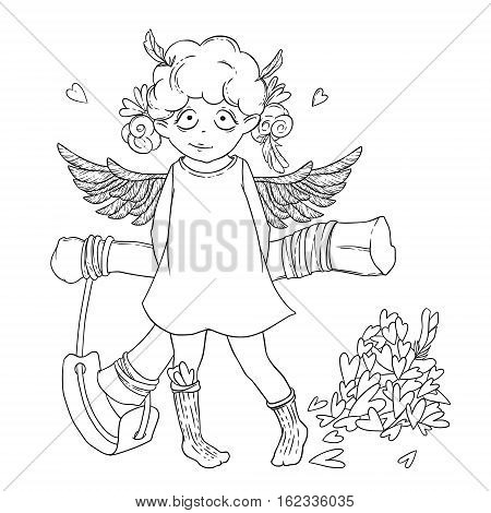 Valentine's day. Naughty cute curly Cupid-girl with slingshot behind her back, wings and a bunch of hearts. Vector illustration isolated on white. Coloring page