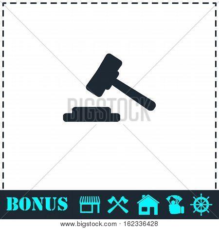 Hammer judge icon flat. Simple vector symbol and bonus icon