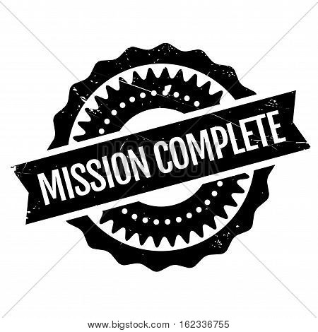 Mission complete stamp. Grunge design with dust scratches. Effects can be easily removed for a clean, crisp look. Color is easily changed.