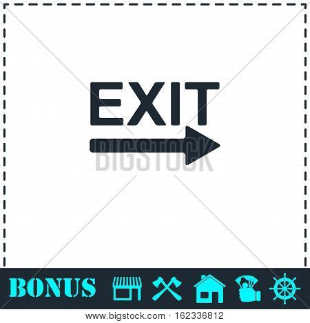 Exit icon flat. Simple vector symbol and bonus icon