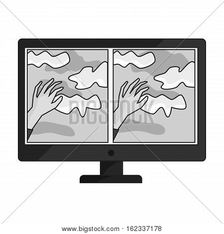 Virtual reality glasses overlay on monitor icon in monochrome style isolated on white background. Virtual reality symbol vector illustration.