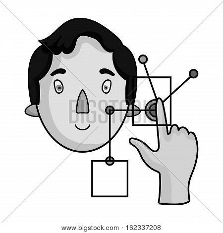 Man in the virtual reality icon in monochrome style isolated on white background. Virtual reality symbol vector illustration.