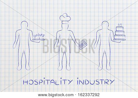 Waiter, Cook And Pastry Chef, Concept Of Jobs In The Food Industry
