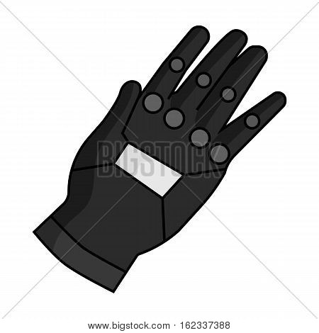 Virtual reality glove controller icon in monochrome style isolated on white background. Virtual reality symbol vector illustration.