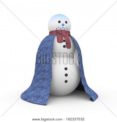 Snowman which was very cold. Snowman is dressed in a woollen cloak. 3d illustration