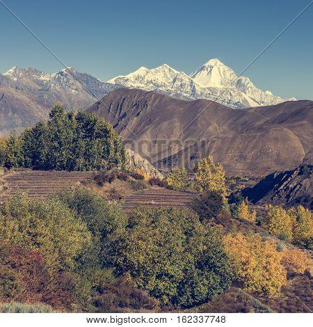 Mountain landscape in autumn. Annapurna circuit trek in Nepal.