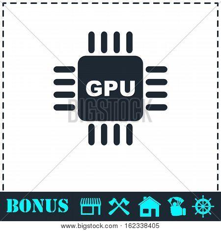 Gpu icon flat. Simple vector symbol and bonus icon