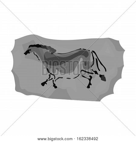 Cave painting icon in monochrome style isolated on white background. Stone age symbol vector illustration.