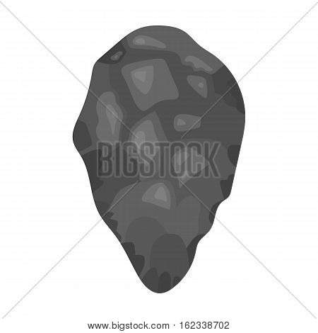 Stone tool icon in monochrome style isolated on white background. Stone age symbol vector illustration.
