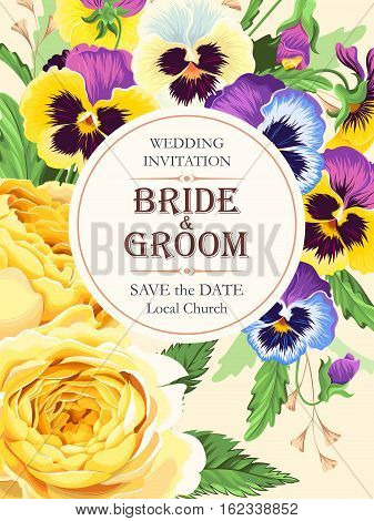 Vector wedding invitation with vintage pansies and roses