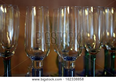 Empty champagne glasses close up. Focus on foreground,