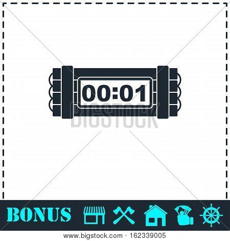 Dynamite bomb explosion violence detonate dynamite bomb icon flat. Simple vector symbol and bonus icon