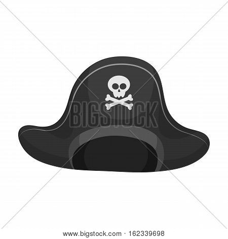 Pirate hat with skull icon in monochrome style isolated on white background. Pirates symbol vector illustration.