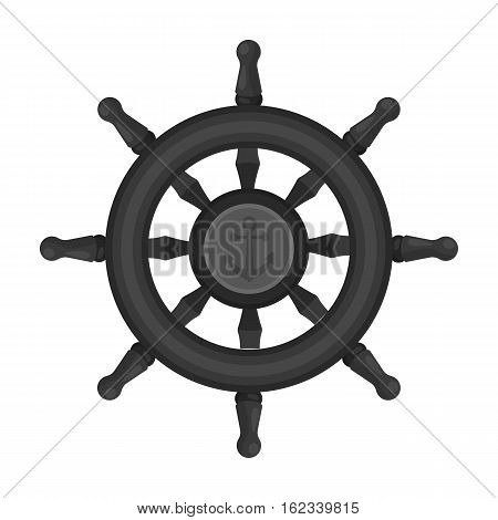 Wooden ship steering wheel icon in monochrome style isolated on white background. Pirates symbol vector illustration.
