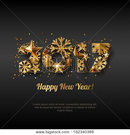 Happy New Year 2017 Vector Greeting Card With Golden Numbers. Abstract Holiday Black Glowing Backgro