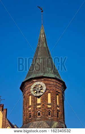 Clock Tower with vane at Cathedral in Kaliningrad